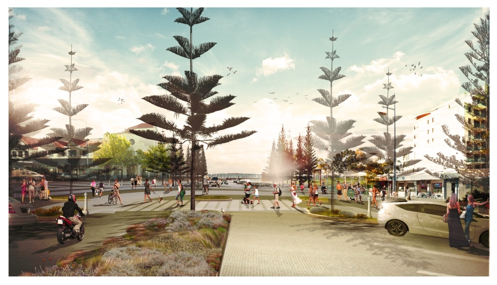 An artist's impression of what the future beach foreshore will look like.