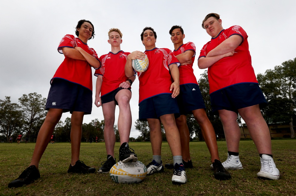 Thornlie Senior High School under 15 rugby players Braeden Kahu, Billy Judge, Peliata Fisiihoi, Mayson Hill and Austin Cameron. Picture: Matt Jelonek         www.communitypix.com.au   d455395