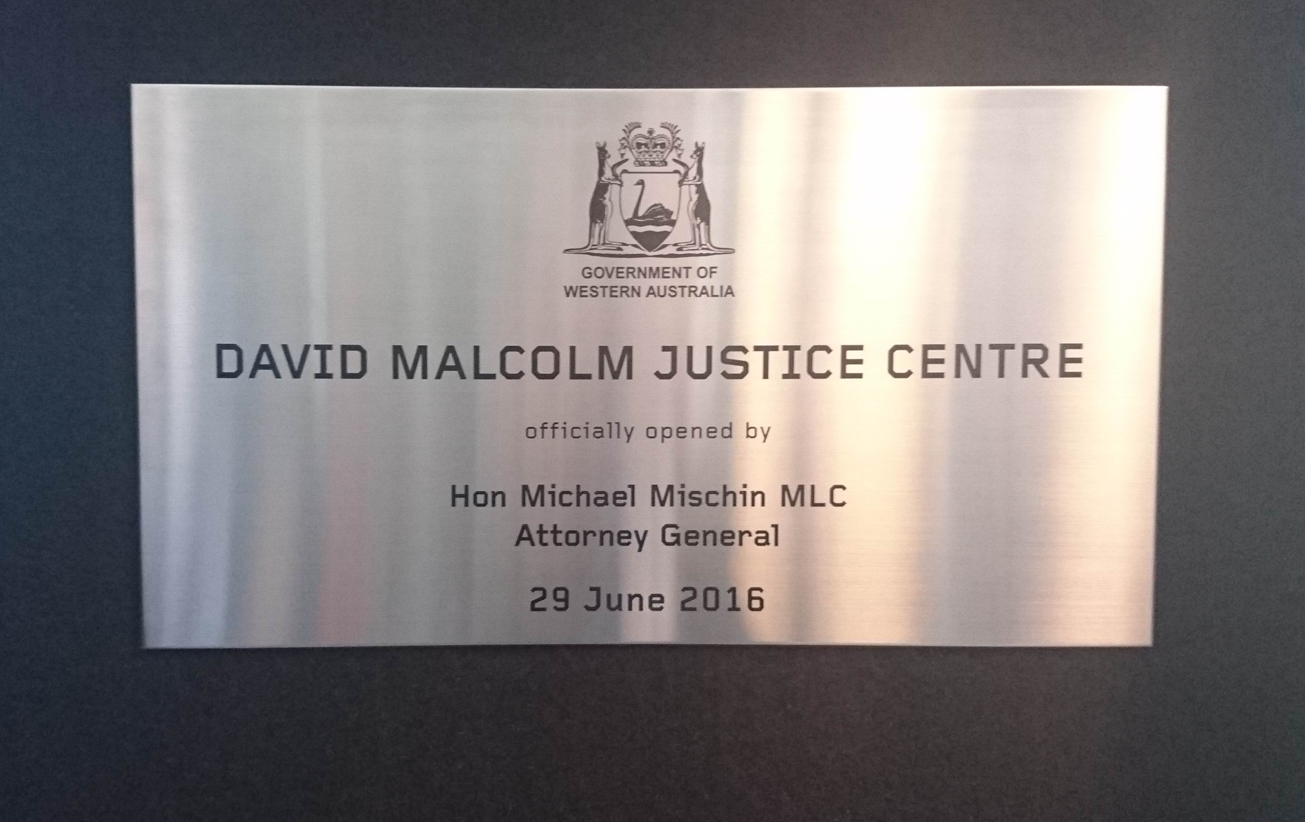 The plaque unveiled by the Attorney General on Wednesday.