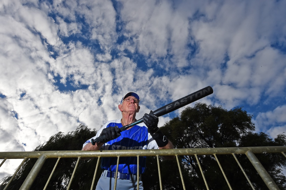 David Roper (78) is in his 35th consecutive season playing softball for AK Strikers. Picture: Jon Hewson        www.communitypix.com.au   d455946