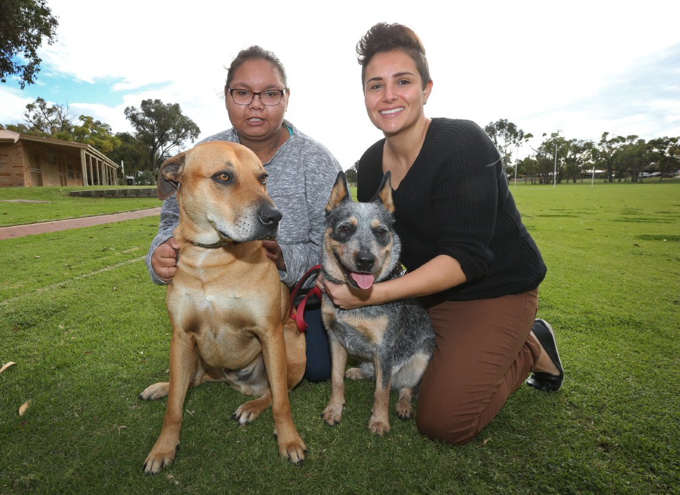 Karla Little with Simba and Richelle Mondello with Turi. Picture: Matt Jelonek        www.communitypix.com.au d456035