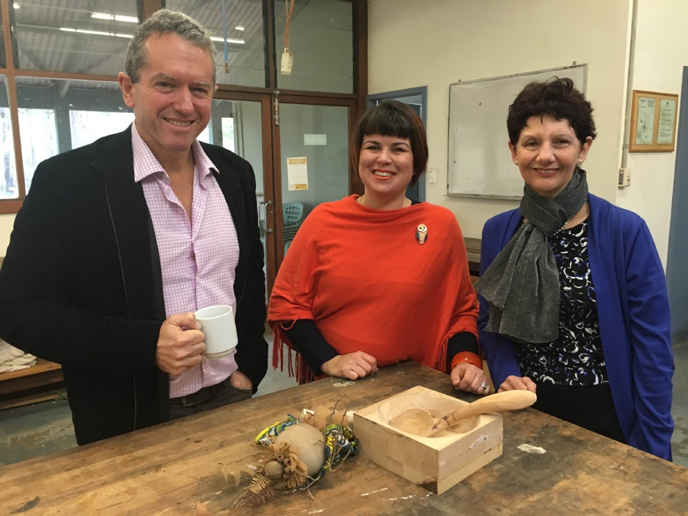 Regional Development Minister Terry Redman, Forest Heritage Centre manager Shani Holster and chairwoman Sue Fyfe.
