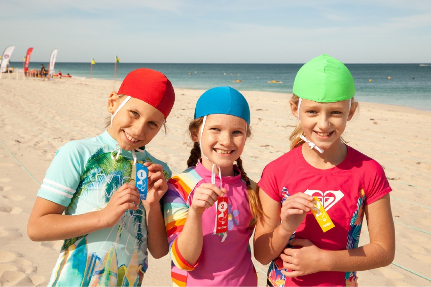 Ava Tomazin, Kate Morrissey and Shanayah King participate in BeachSAFE activities.
