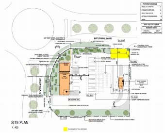 Site map for the 7-Eleven store and an artist's impression of the store.