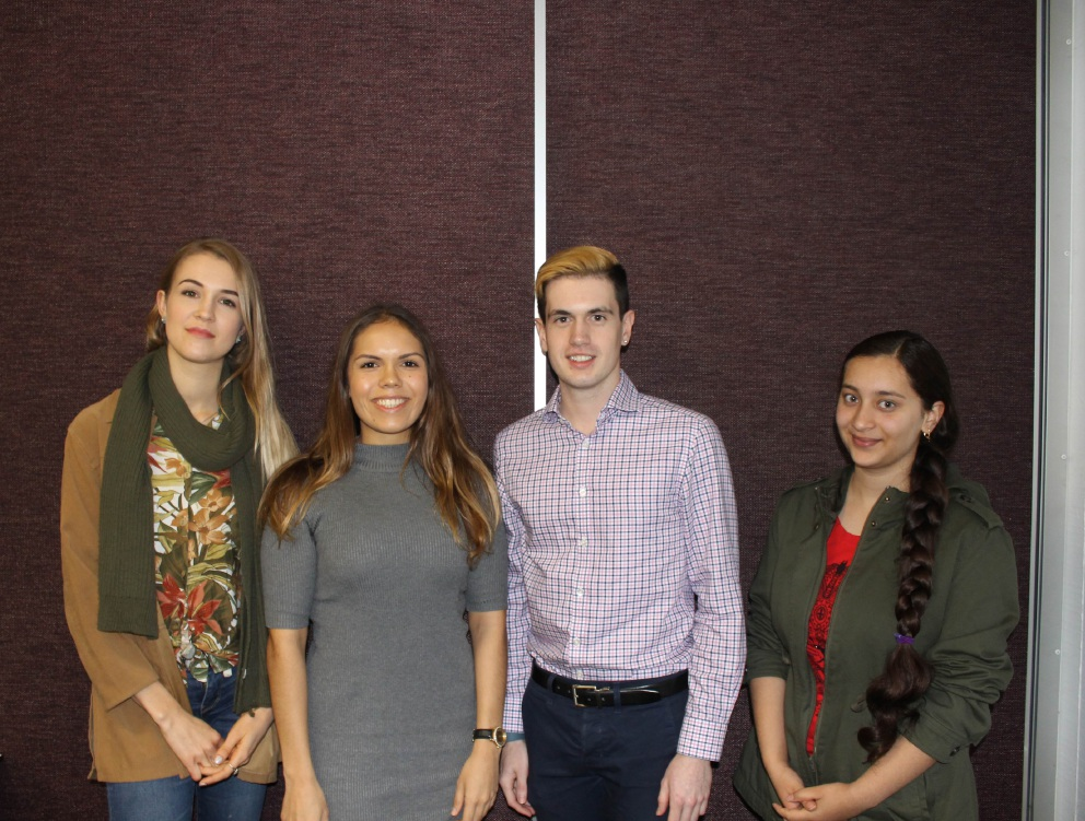 Curtin students Sophie van Dam, Emma Garlett, Christian Ford and Nirzari Dave were all selected for the scholarship.