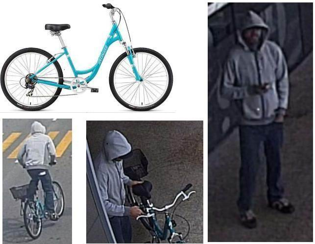 CCTV stills of the man and the bike.