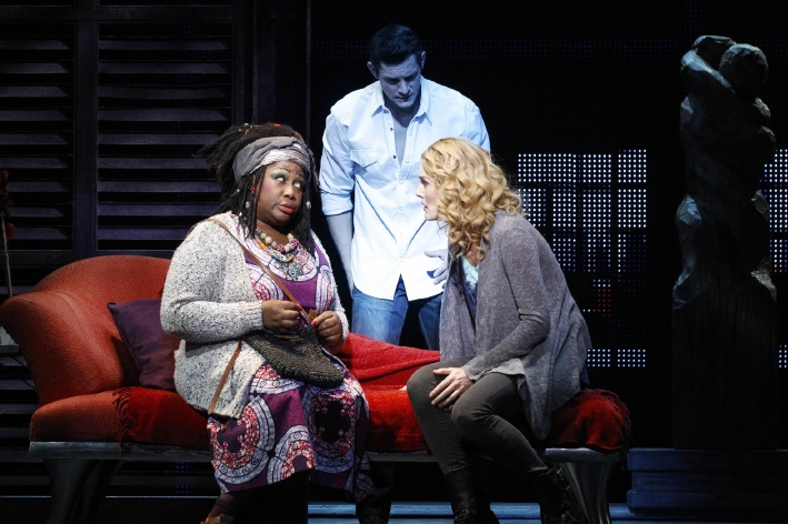 Wendy Mae Brown, Rob Mills and Jemma Rix as Oda Mae, Sam and Molly in Ghost the Musical.