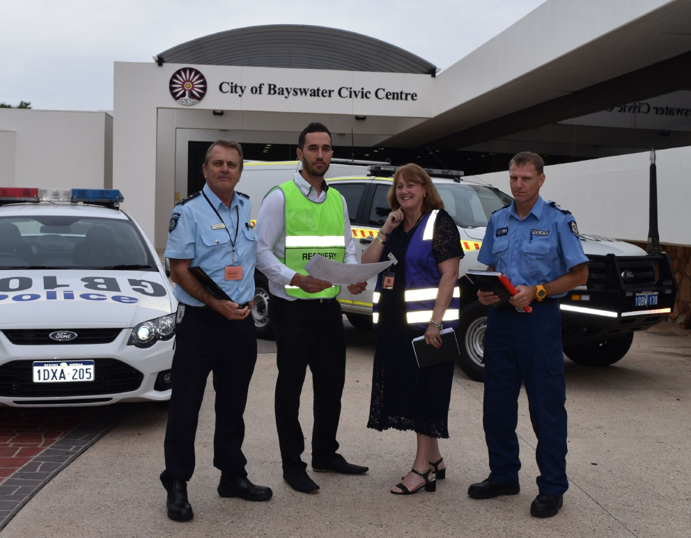 Department of Fire and Emergency Services district officer Allen Gale, City of Bayswater local recovery co-ordinator Michael Worthington, Child Protection and Family Support senior district emergency services officer Jo-Anne Bennett and Bayswater Police Acting Senior Sergeant Will Withers.