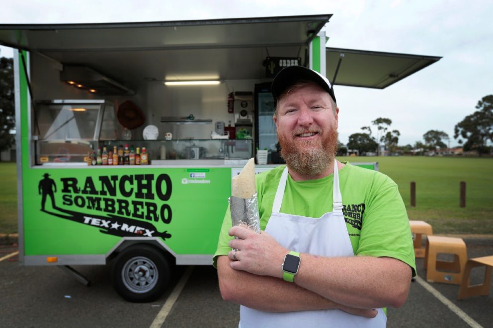 Mike Thompson, owner of Rancho Sombrero food truck. Bayswater will trial pop-up food trucks at different sites around the City. Andrew Ritchie www.communitypix.com.au d454355