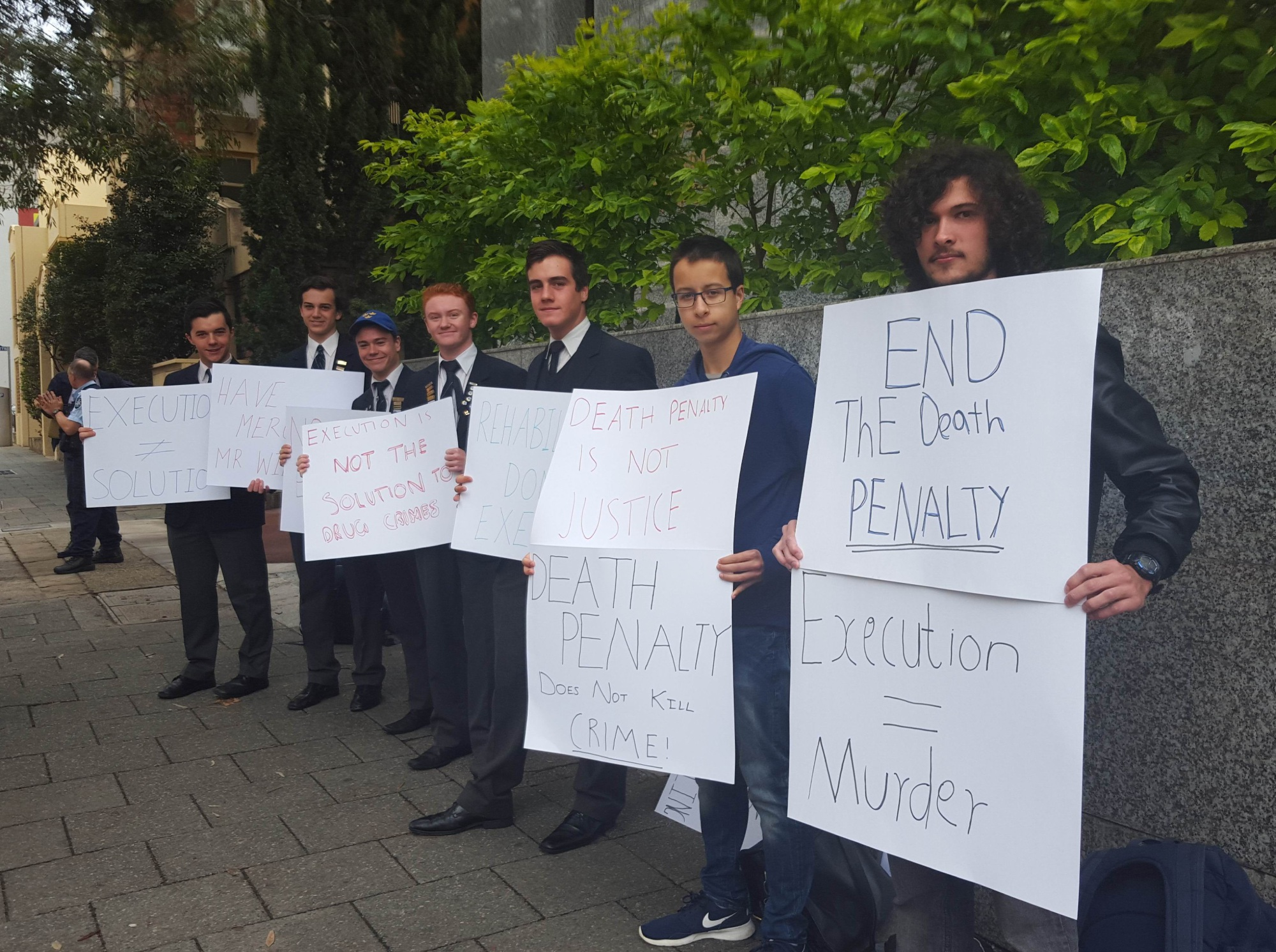 Trinity College students yesterday protested the Indonesian government's stance on the death penalty.