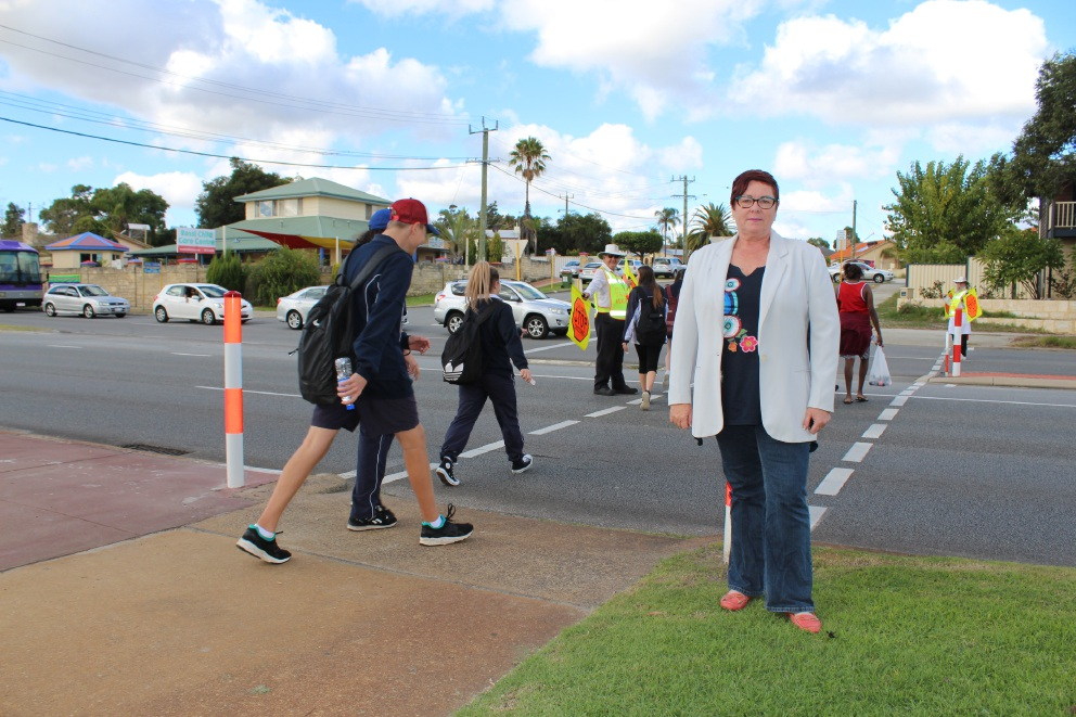 Maylands MLA Lisa Baker at the Broun Avenue school zone.
