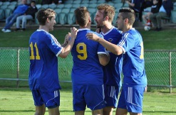 Cockburn City players celebrate Ruben Tristao's opening goal. Picture: Peter Simcox