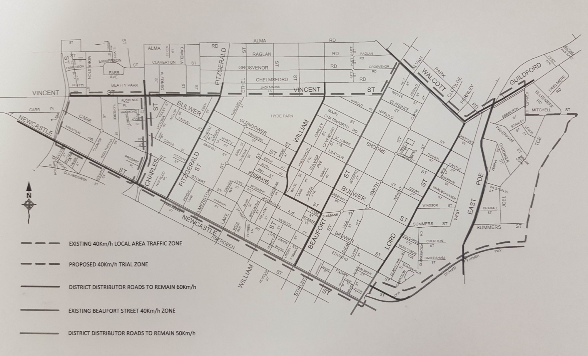 Map of the speed zone reduction trial area in the City of Vincent.
