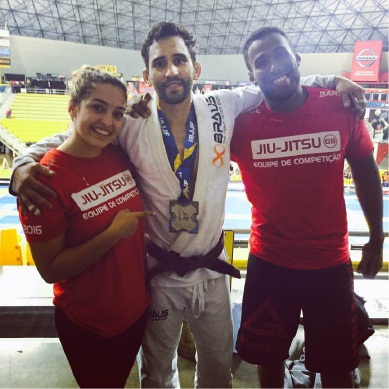 Rodrigo Costa after winning his silver medal, with his training partners.