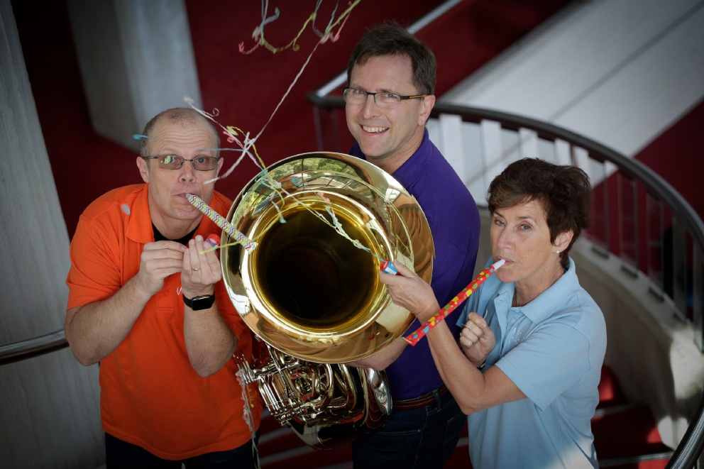 Alex Millier (clarinettist), Cameron Brook (tuba) and Joan Wright (double bass). Picture: Andrew Ritchie d455231