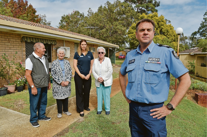 George Smart, Margaret Higgs, Janelle Patterson (Gosnells Community Safety Officer), Linda Stewart and Sergeant Rob Coales. Picture: Jon Hewson d453290
