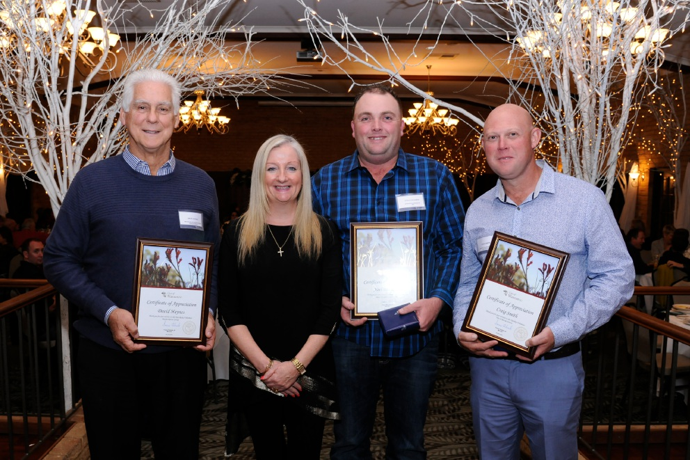 Two Rocks Volunteer Marine Rescue Group's David Haynes, Wanneroo Mayor Tracey Roberts, Wanneroo Joondalup SES's Steve Faulkner and Yanchep Fire and Rescue's Craig Smith.