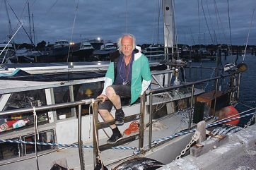 David Ashton aboard his yacht on Thursday night at Two Rocks Marina. Picture: Justin Bianchini
