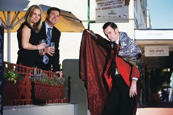 Psaros marketing manager Cate Turner with sales director Sven Robertson and fringe artist Tomas Ford.