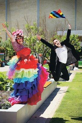 Famous Sharon and singer Kiera Owen celebrating the launch of PrideFEST. Picture: Andrew Ritchie www.communitypix.com.au d428475