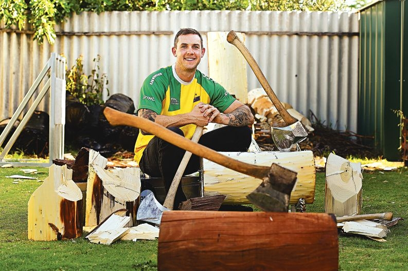 Champion axeman and Osborne Park resident Brent Rees. Picture: Marcus Whisson www.communitypix.com.au d428037
