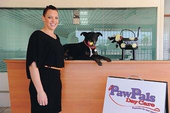 PawPals Daycare owner Laura Maher with her beloved pooch Hank. Picture: Marcus Whisson d412514