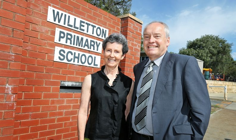 Melville Mayor Russell Aubrey outside Willetton Primary School, which will fall within Melville's boundaries.