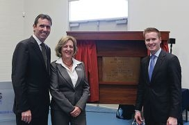 Education Minister Peter Collier, principal Janice Sander and Ocean Reef MLA Albert Jacob.