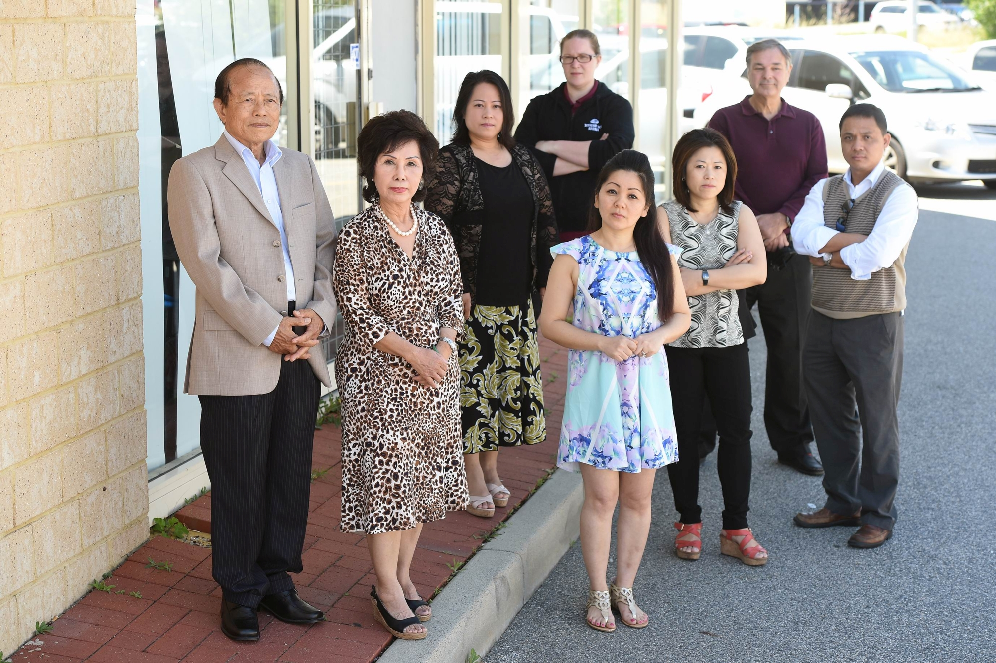 Local business owners (from left) Tuyen Tran, Dau Tran, Vivian Tran, Marie Lowick, Zerlina Nguyen, Serena Tran, Keith Jacob and Tri Le. Picture: Marcus Whisson d427970