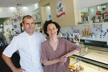 Marie Antoinette cafe owners Pierre and Sarah Aubault. Inset: One of the cafe's sweet treats.