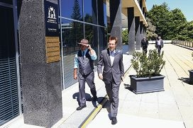 Gosnells Mayor Dave Griffiths and chief executive Ian Cowie head to Dumas House in West Perth to hear merger announcements last week. d428094
