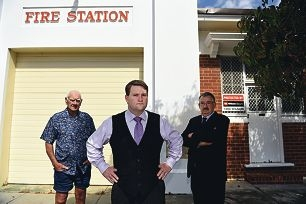 Town of Bassendean Mayor John Gangell with Bassendean Volunteer Fire and Rescue Service Brigade life member Roy Weatherburn (left) and former Captain Mike Smith. Picture: Marcus Whisson www.communitypix.com.au d428200
