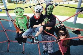 Zac Quinn-Williams (5), Josh Bennett (6), Cory Bennett (9) and Elissa Quinn-Williams (9). Picture: Emma Goodwin d427207