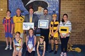 Waterwise co-ordinator Mike Hawke-Linsley, Joondalup Mayor Troy Pickard and associate principal Mike Wright with some student councillors.