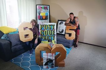 Trevor Bly and Chris McBride are taking part in the Postcode Party exhibition. Picture: Emma Goodwin d427461