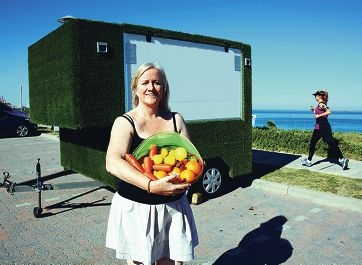 The Juicy Box operator Pip Porteous sets up near Mosman Park Beach.