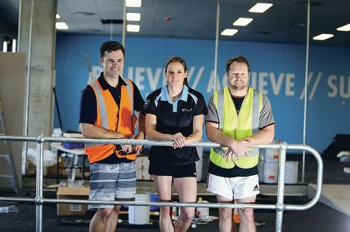 Brett and Carrie George and Ian Harvey have opened Future Fit at the Ocean Keys Shopping Centre. Picture: Emma Goodwin www.communitypix.com.au d427016