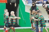 Young players formed a guard of honour.