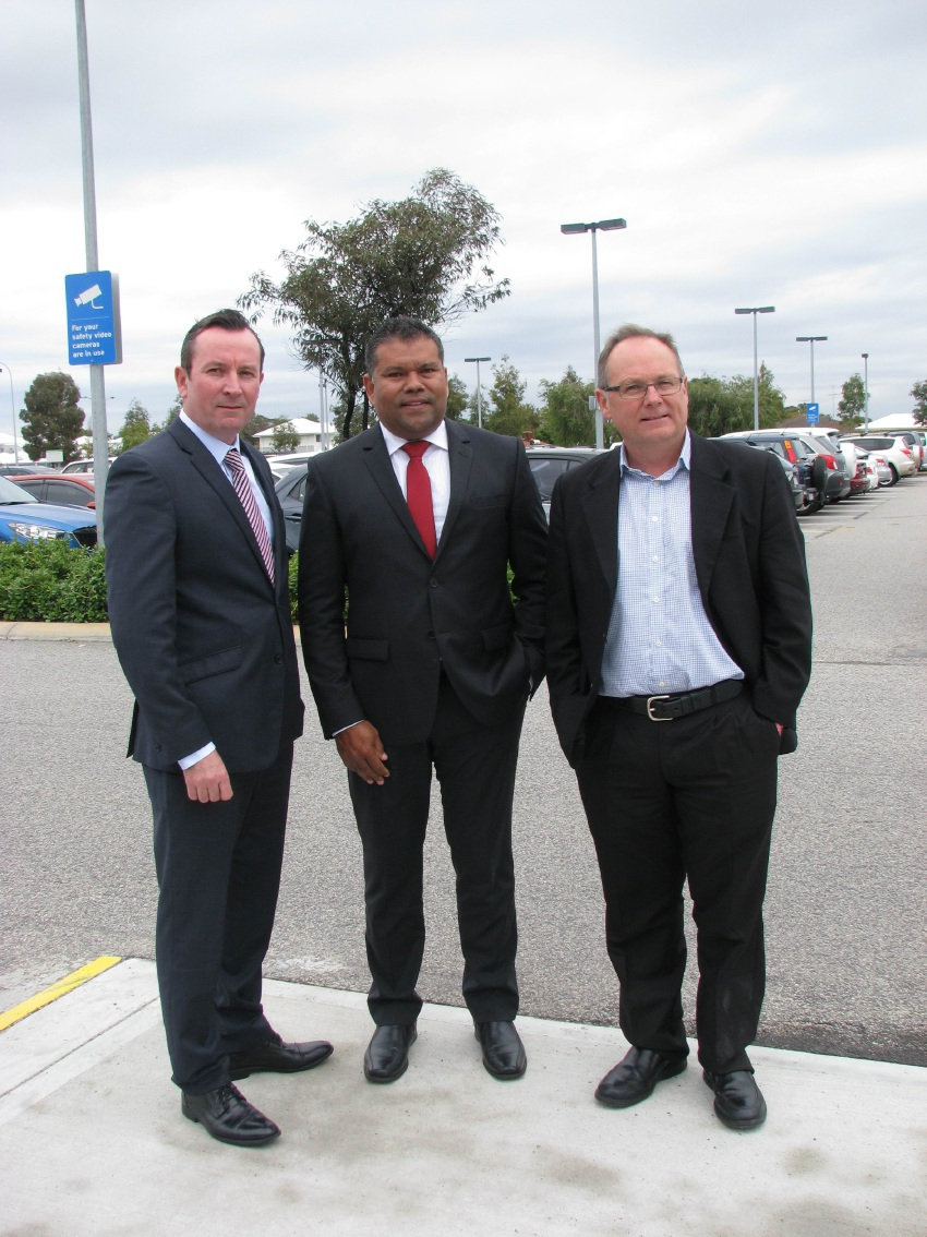 Barry Winmar (centre) with Mark McGowan and David Templeman.