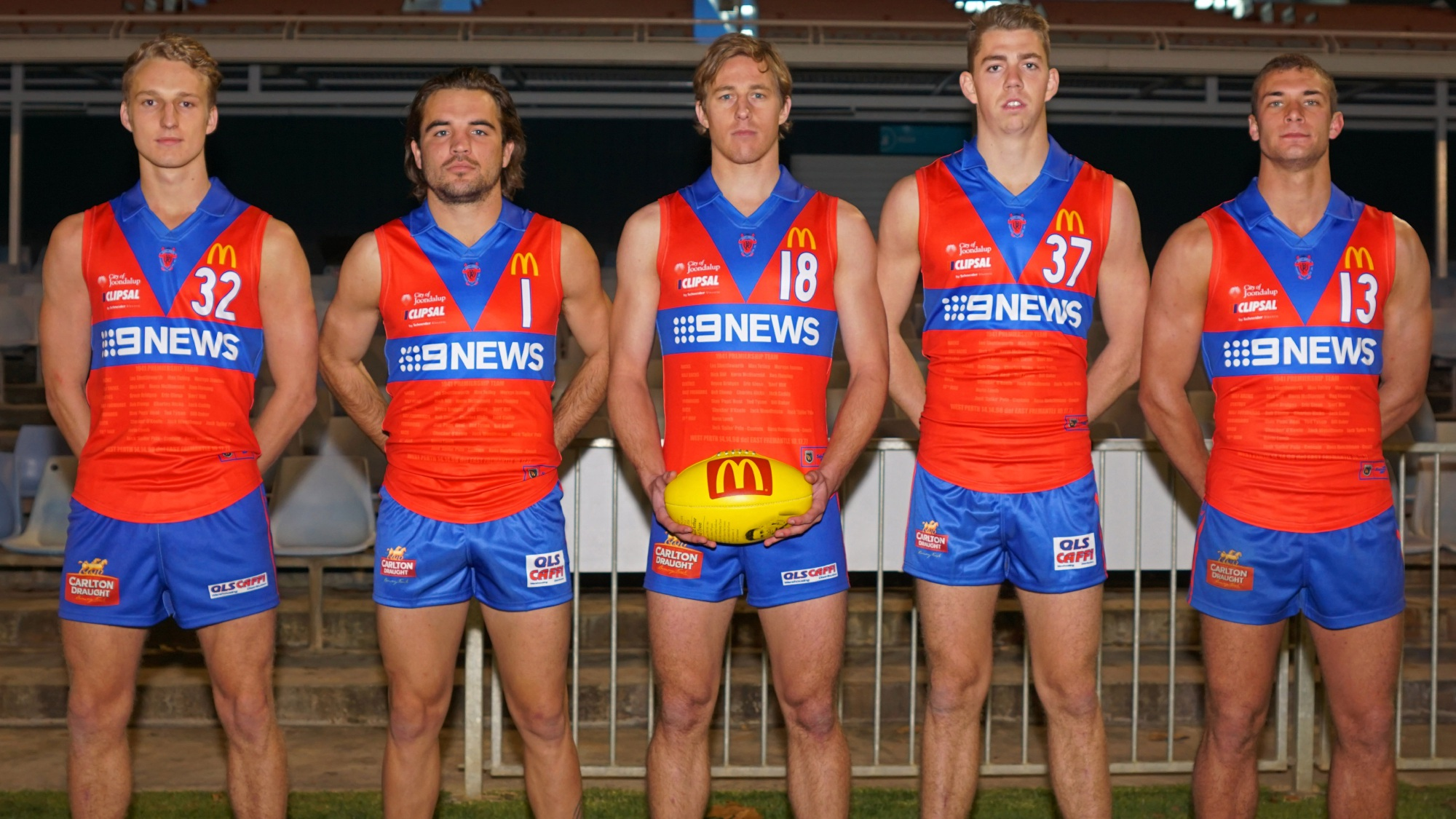 West Perth model the 1941 premiership replica guernsey they will wear agains East Fremantle. Picture: Matt Beilken
