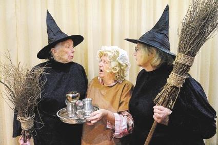 Ursula Johnson as Granny Weatherwax, Christine Ellis as Mrs Plinge and Julie Holmshaw as Nanny Ogg.