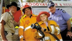 Murray McBride (second from left) with volunteers and workers in Toodyay. Picture: News Limited Perth