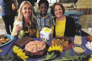 Teaching assistant Paula Rochford, Year 1 student Mwape Kabamba and principal Penny Haleen at the Biggest Morning Tea event.