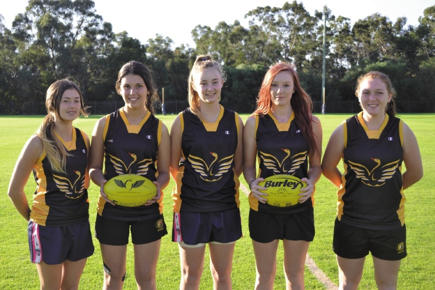 Some of the Peel Thunderbirds who will represent the State in female AFL.