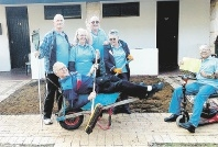 Dean Soraggi, Maureen Cuddy, Graeme Park, Hazel Mackie, (back)  Neil Williams (wheelbarrow), Winston Gallyot (right).