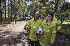Wanneroo Volunteer Bush Fire Brigade members Troy and Tayla Cole. Picture: Emma Goodwin d428747