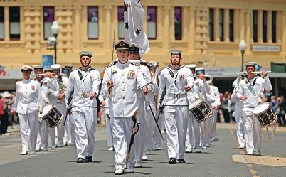 Heroes: The HMAS Stirling's military band played during the Freedom of Entry ceremony in Fremantle. Picture: Martin Kennealey www.communitypix.com.au d426427