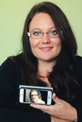 Bec Oldmeadow with a picture of Yvonne June Gover.