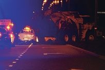 The dump truck carrying the carcass reaches Tamala Park on Tuesday night. Picture: Justin Bianchini