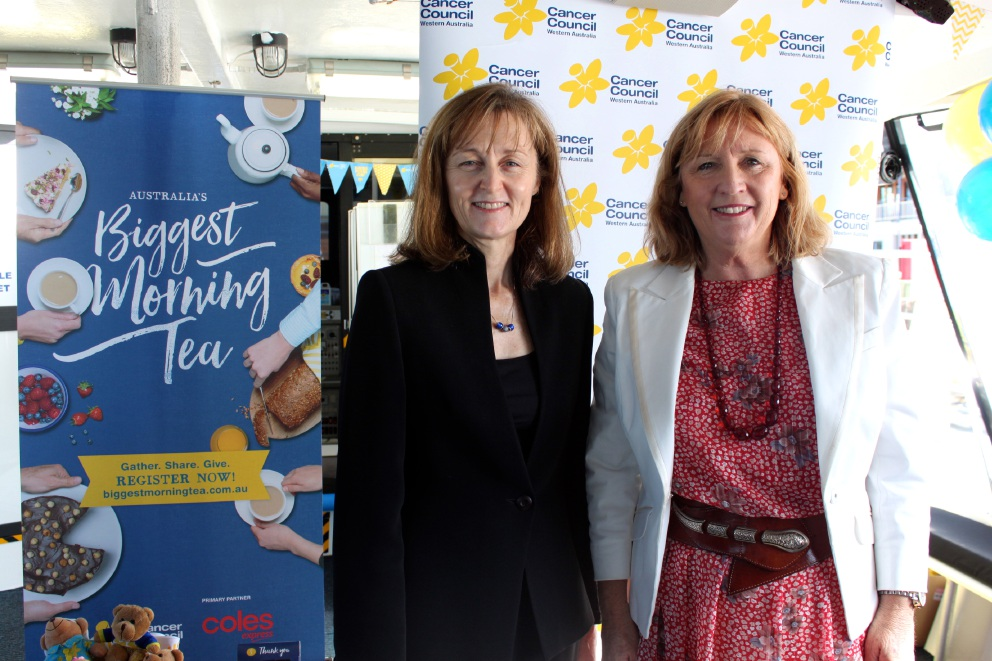 CCWA chief executive Susan Rooney with Southern Cross Austereo Perth general manager Linda Waynam at the Biggest Morning Tea launch.